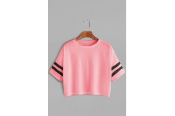 Striped Printed Sleeve Tee Pink