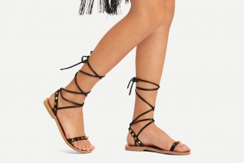 Studded Detail Tie Leg Flat Sandals