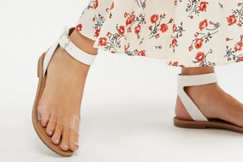 Favourite Clear Flat Sandals White