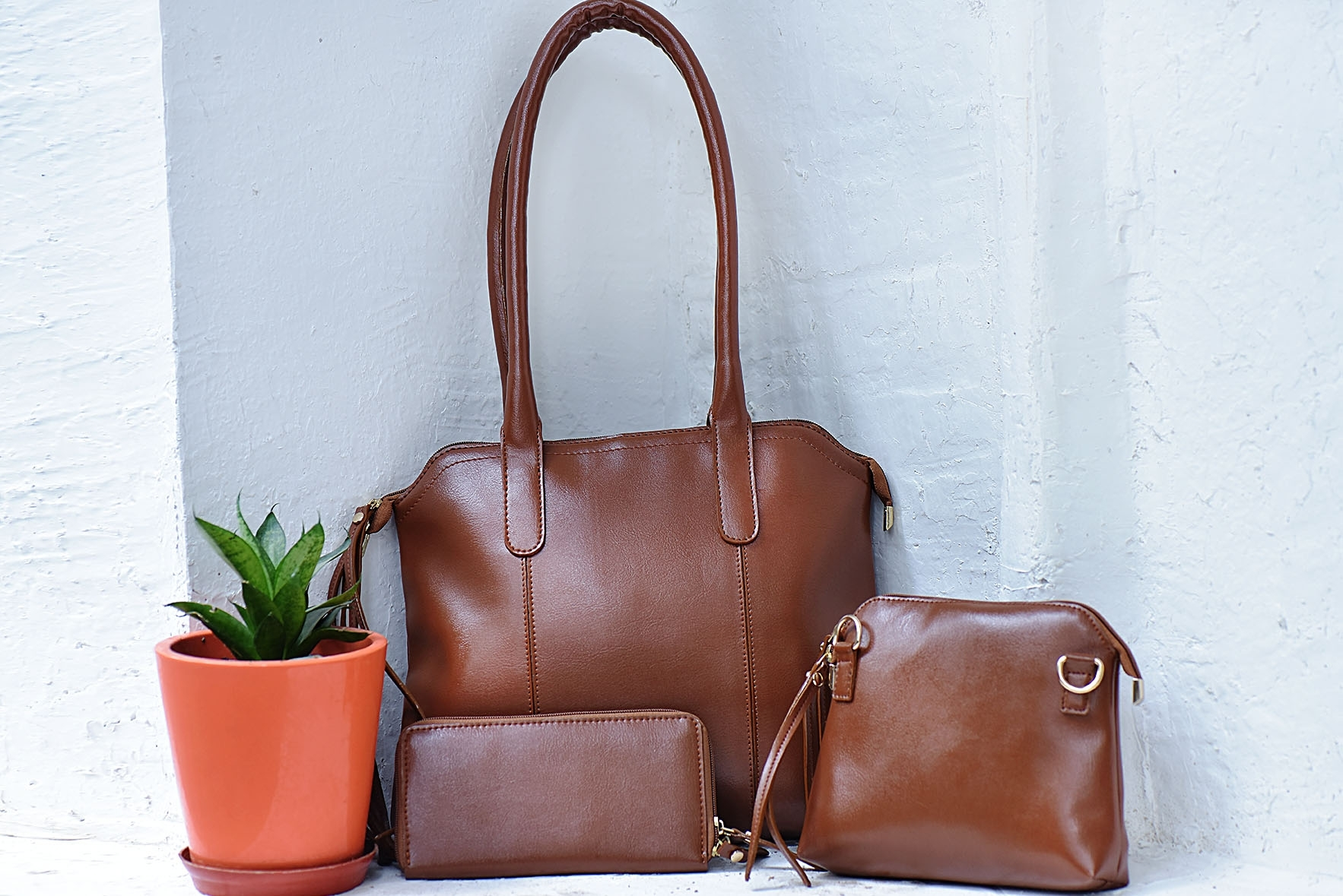 Set of 3 - Carry more sunshine bags Brown