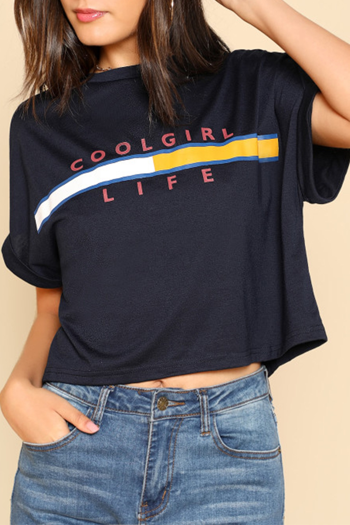 Cool girl life tee black