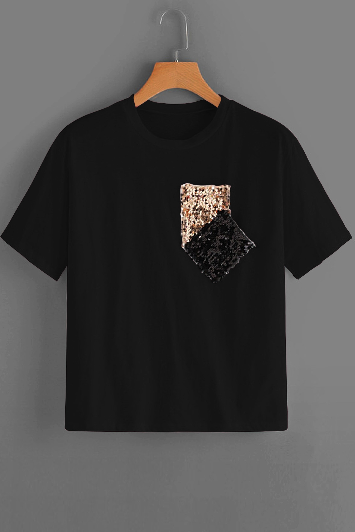 Contrast Sequin Tee Black