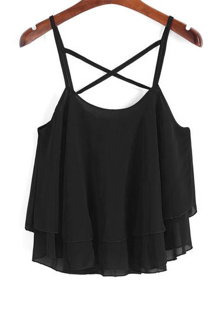 Soleil Sleeveless Black Top