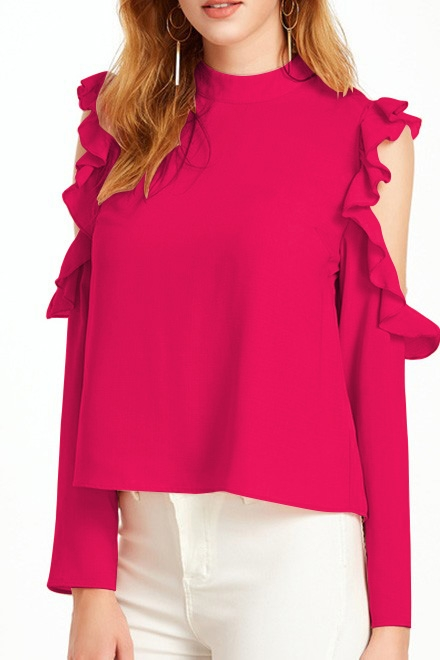 Hot Pink Open Shoulder Top