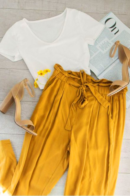 Set- White top with mustard trouser