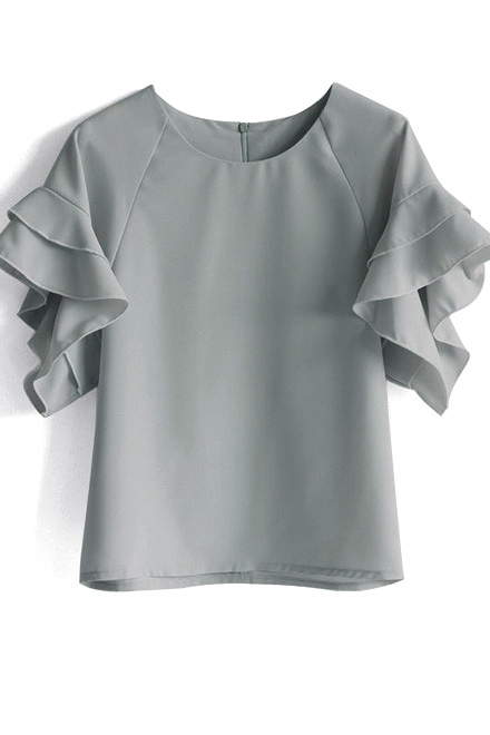 Grey Ruffle Sleeve Top