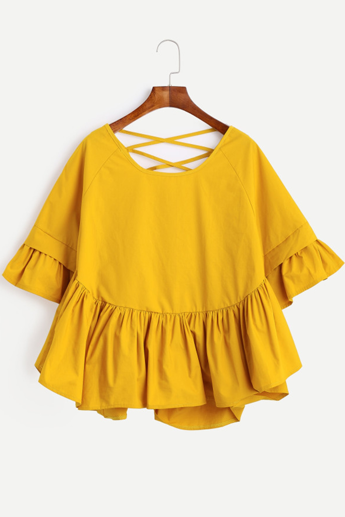 Back Frill Sleeve Smock Top