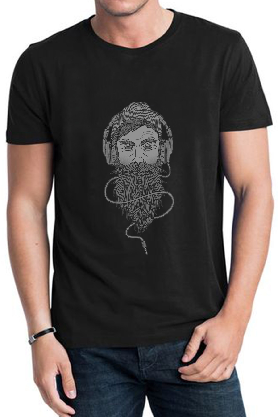 Headphone Jack Guy Half Sleeve Black Tee
