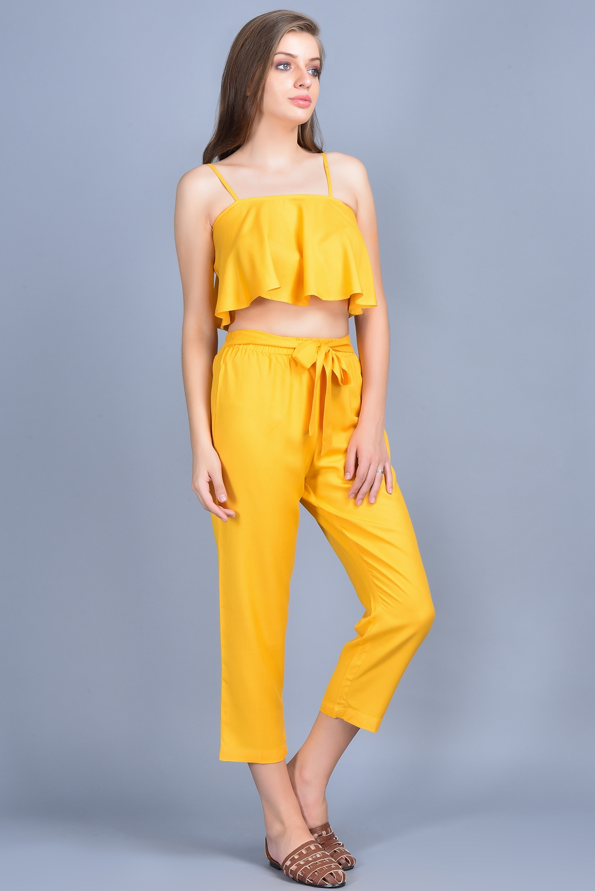Set- Mustard cami top with high waist pant