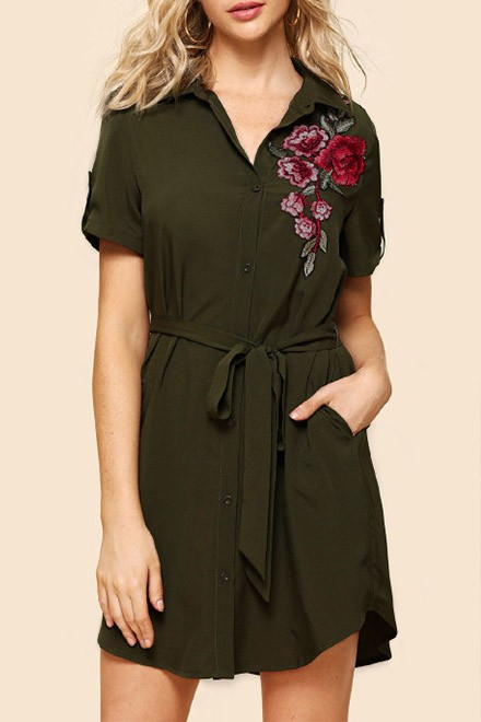 Flower Embroidery Self Belted Shirt Dress