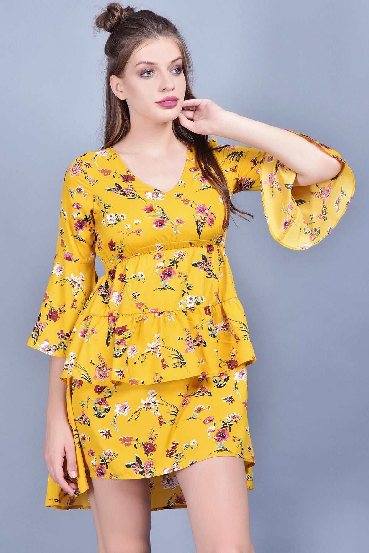 Go yellow frill dress