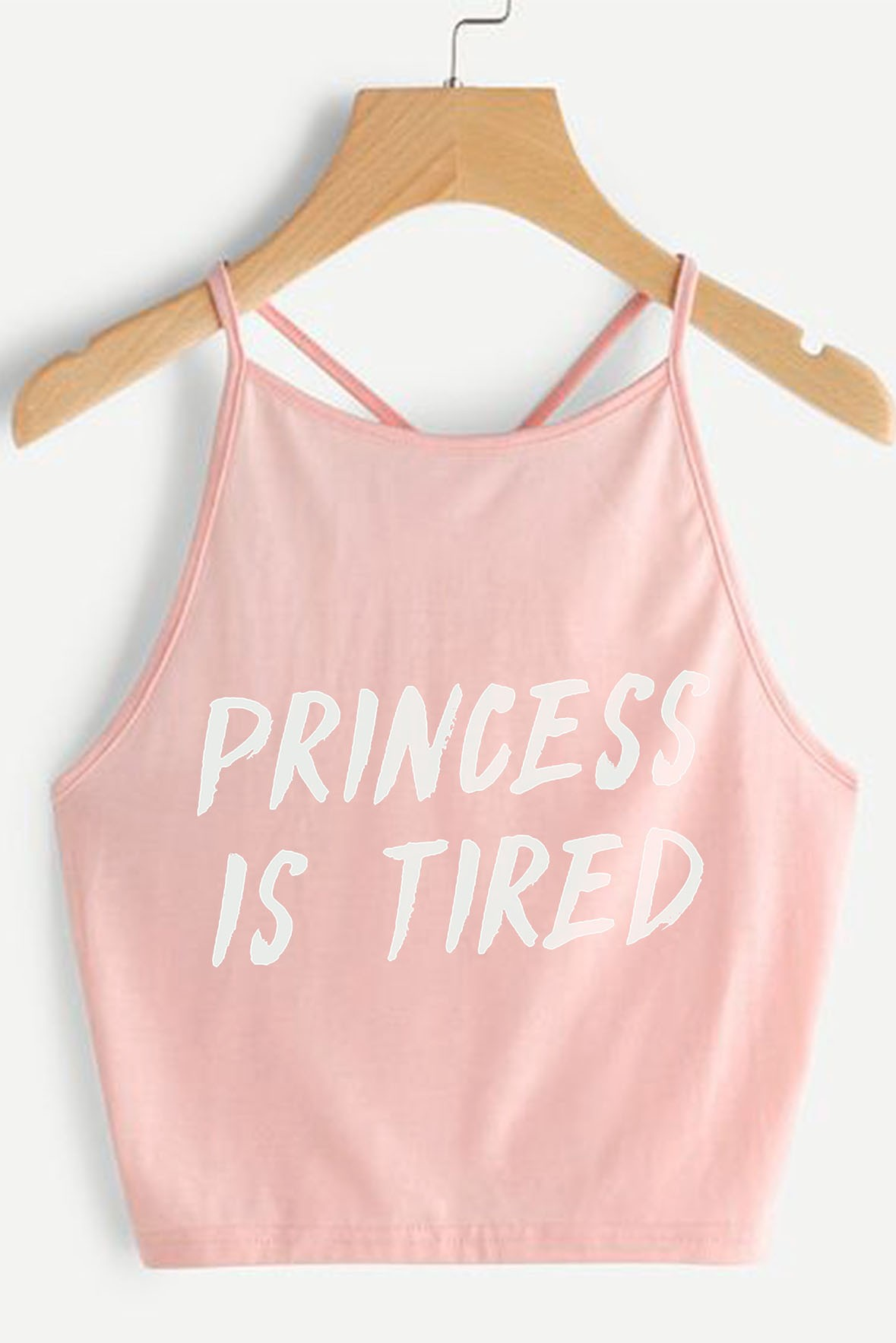 Princess is tired pink white crop top