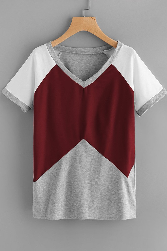 Color Marsala & Grey Short Sleeve Tee