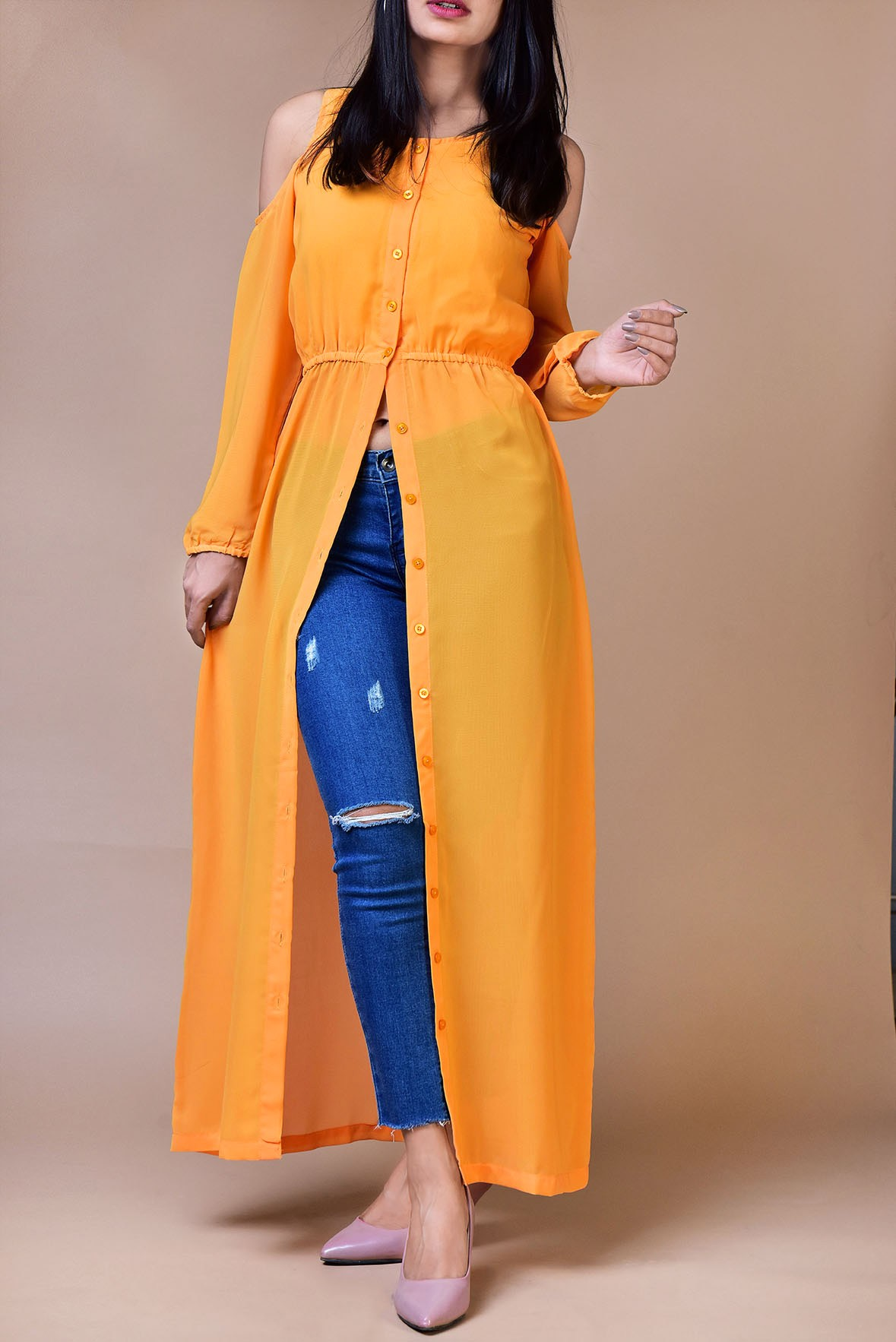 Yellow cold shoulder long tunic