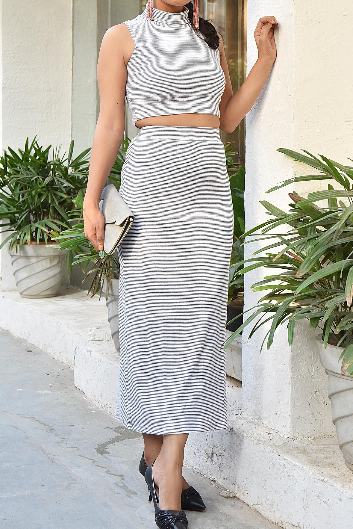 Set- Slay The Slit Skirt+ Top White