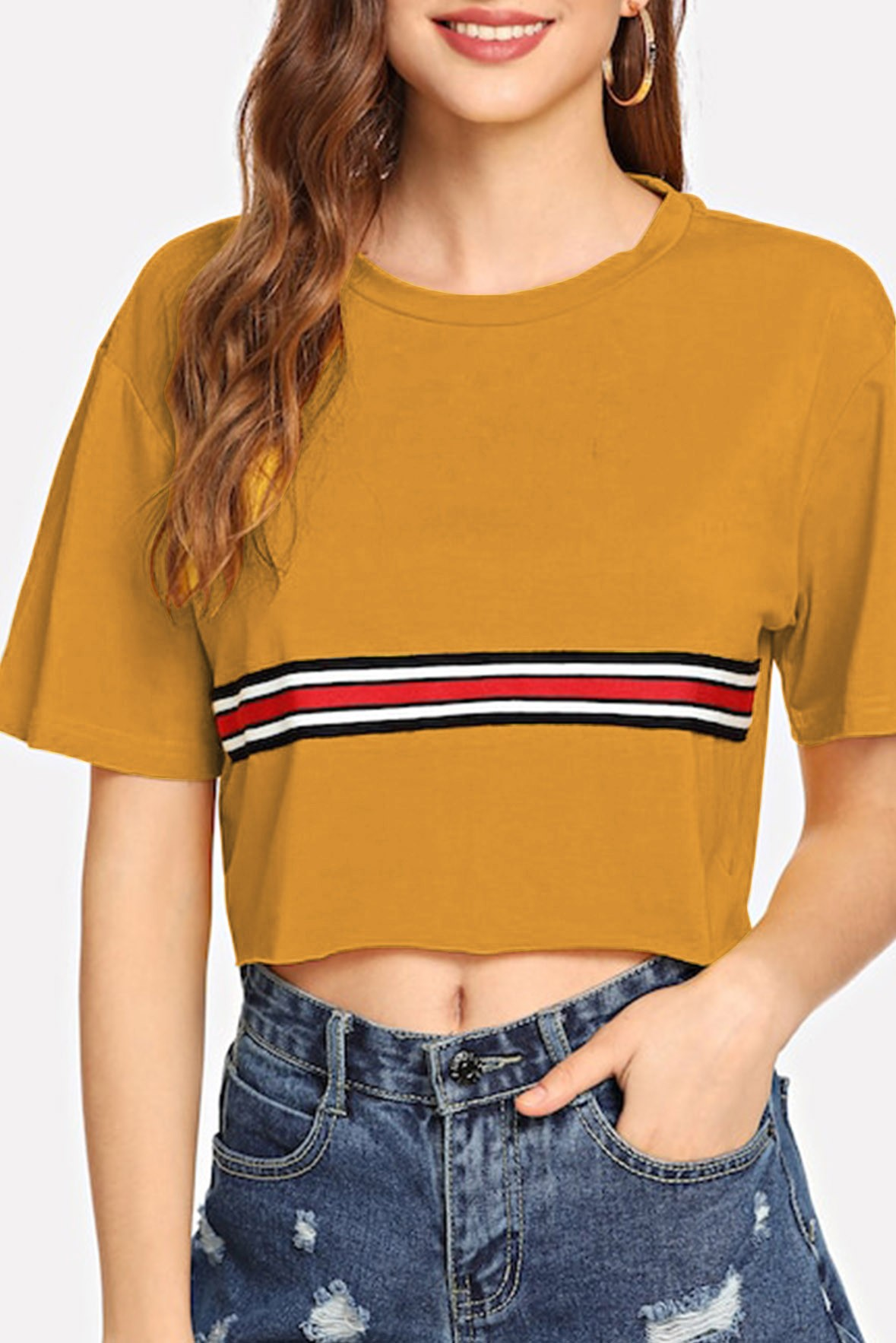 Striped Tape Detail Crop Tee Yellow