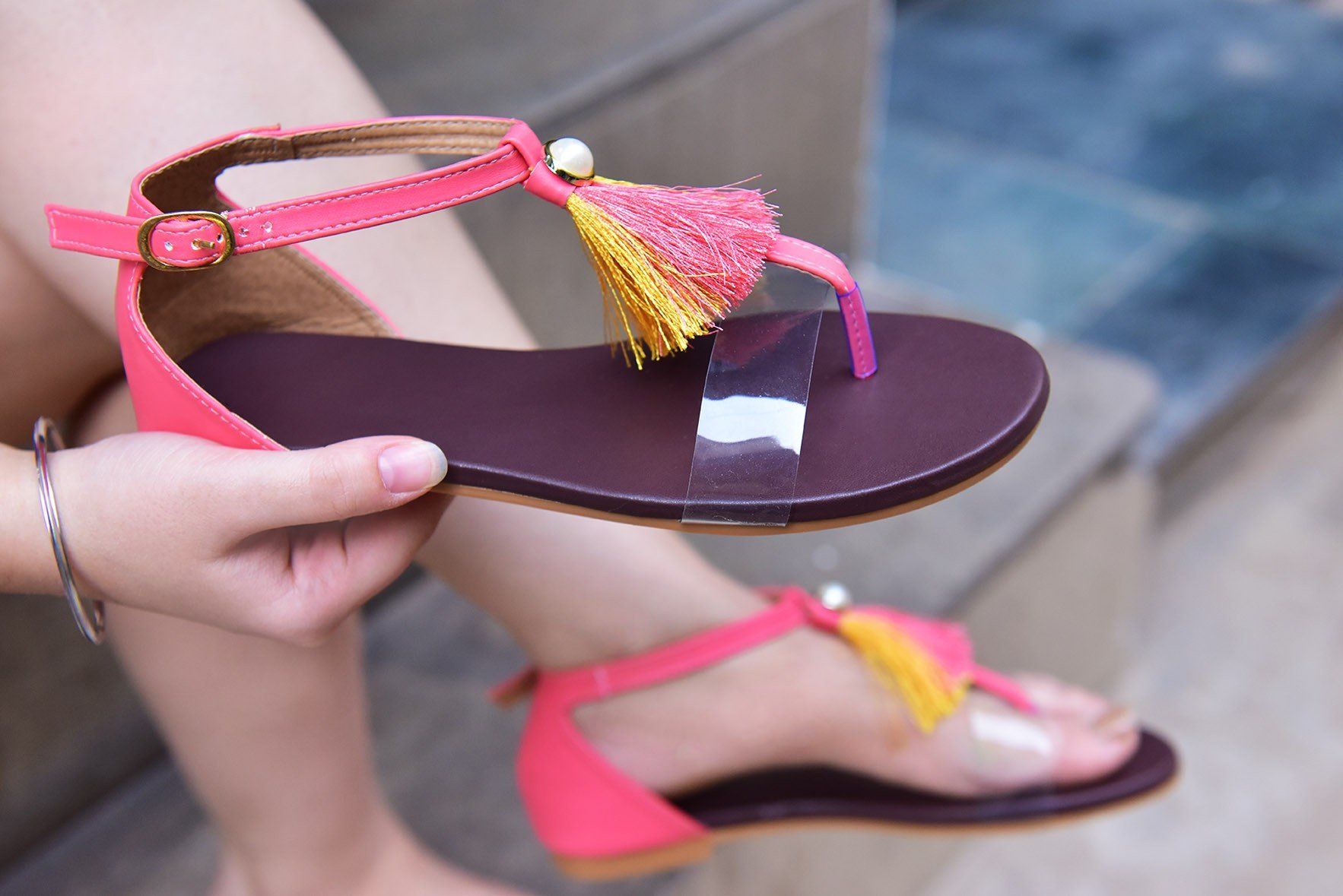 Tassel with transparent strap flats