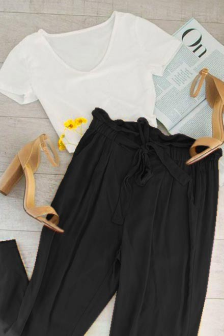 Set- White top with black trouser