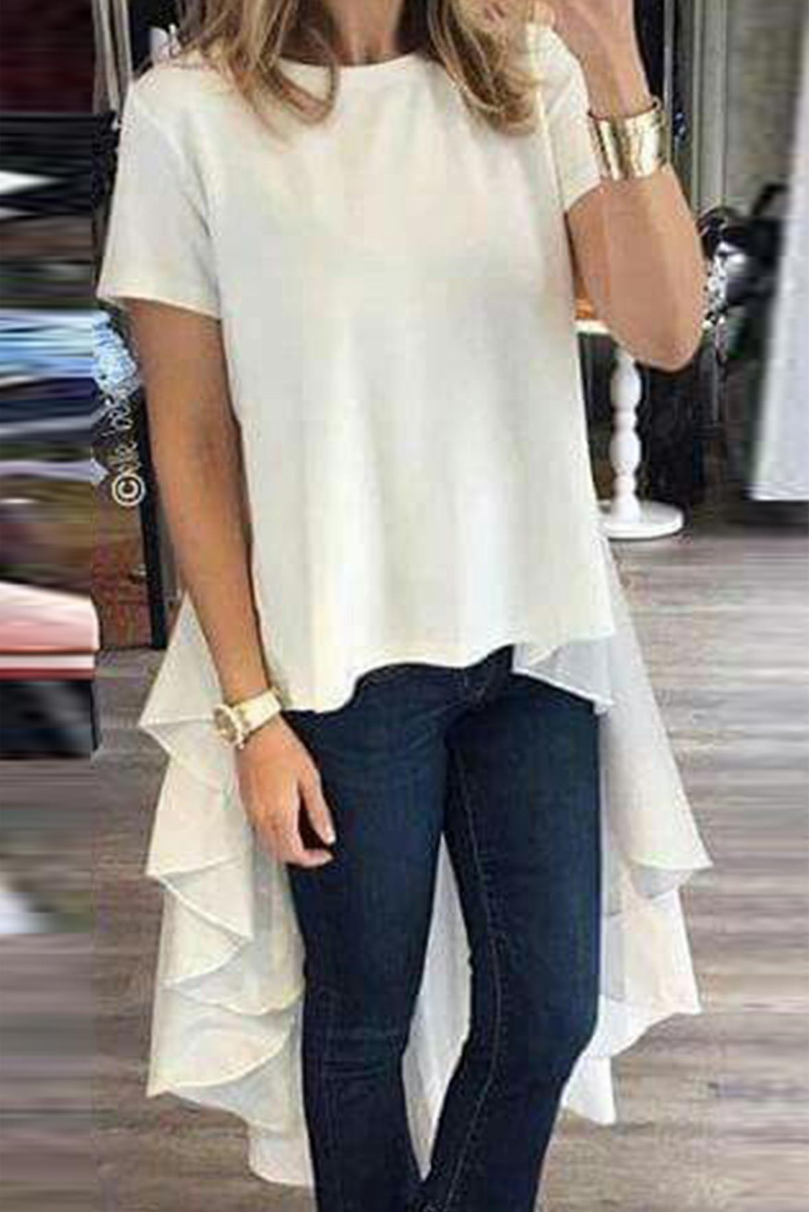 High low flair long top white