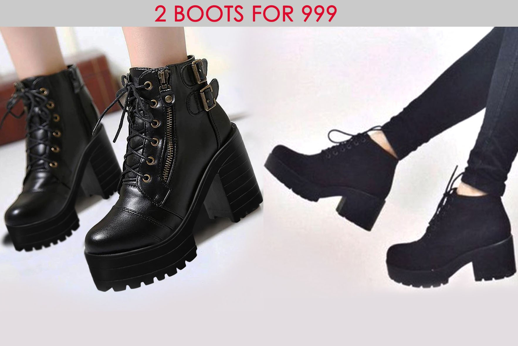 Combo- Twist of Gait Boots & Women Zipper High Heels Lace Up Boots