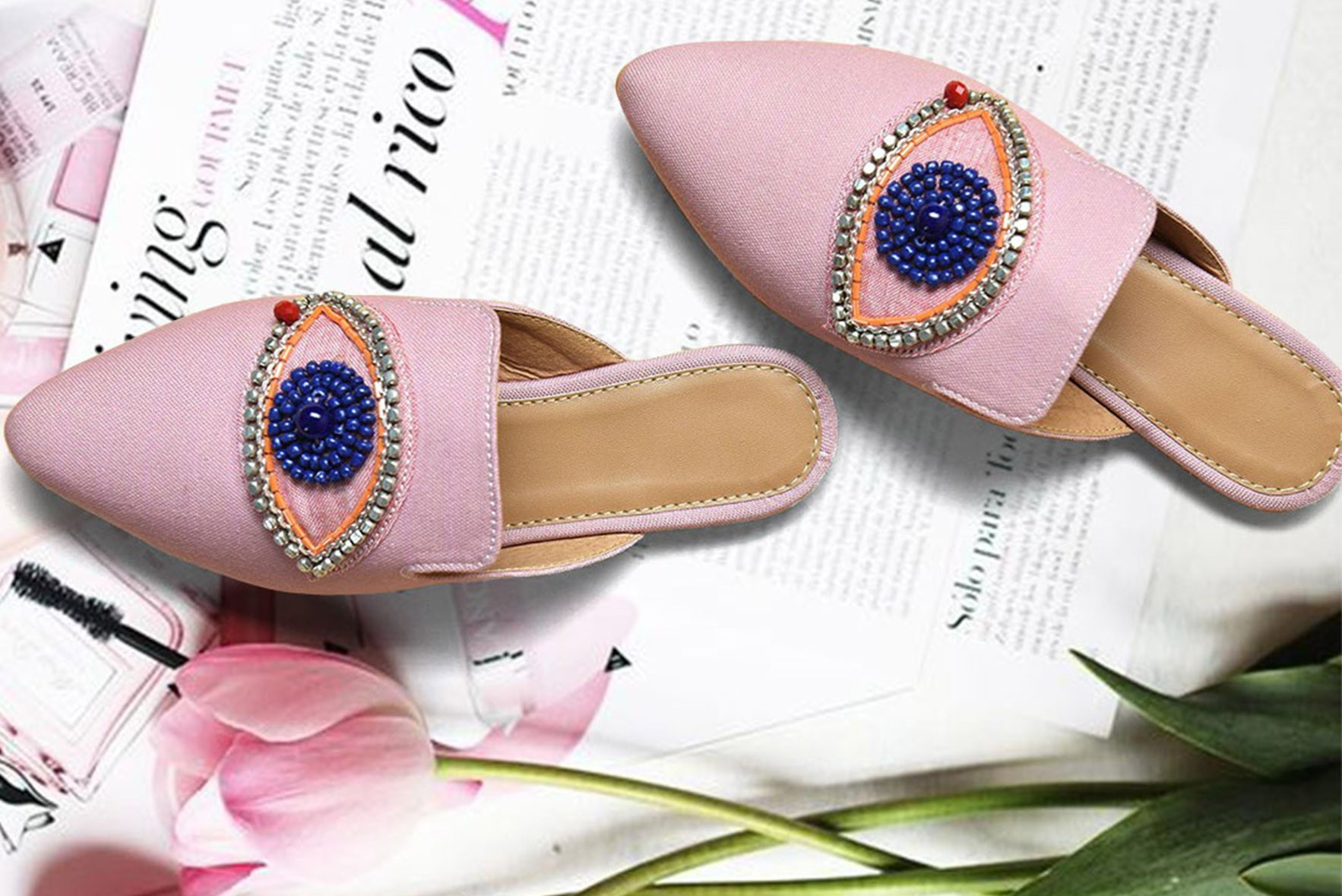 First Sight Love Embroidered Mules