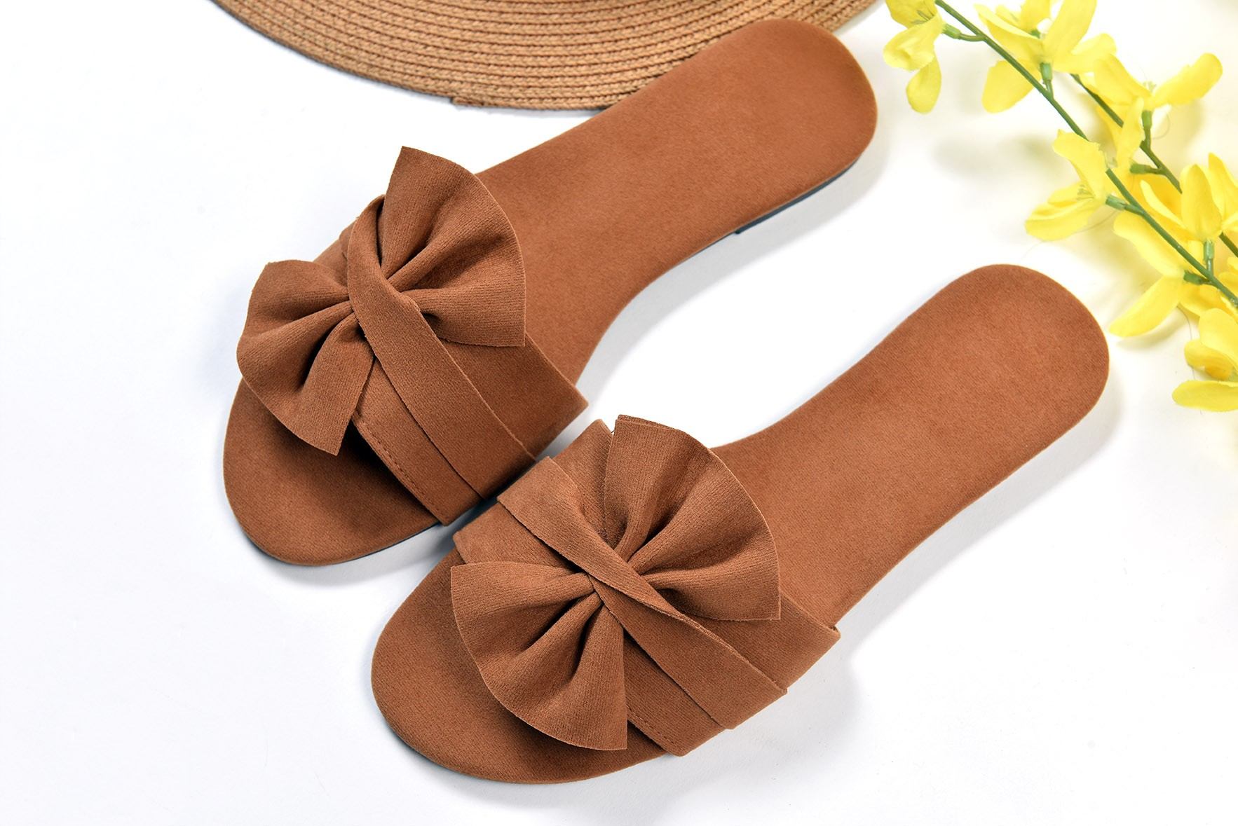 Fray to go slide flats Brown