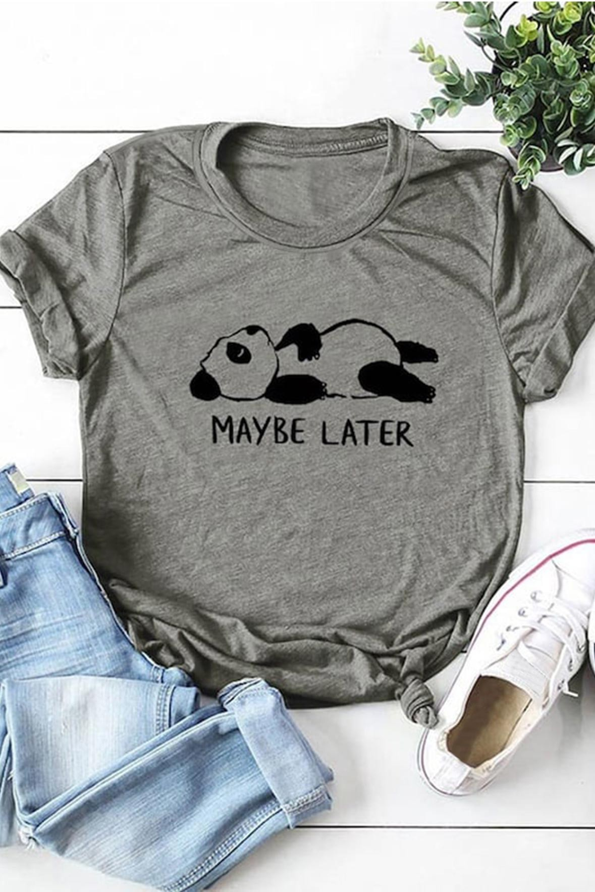 Maybe Later Grey Tee
