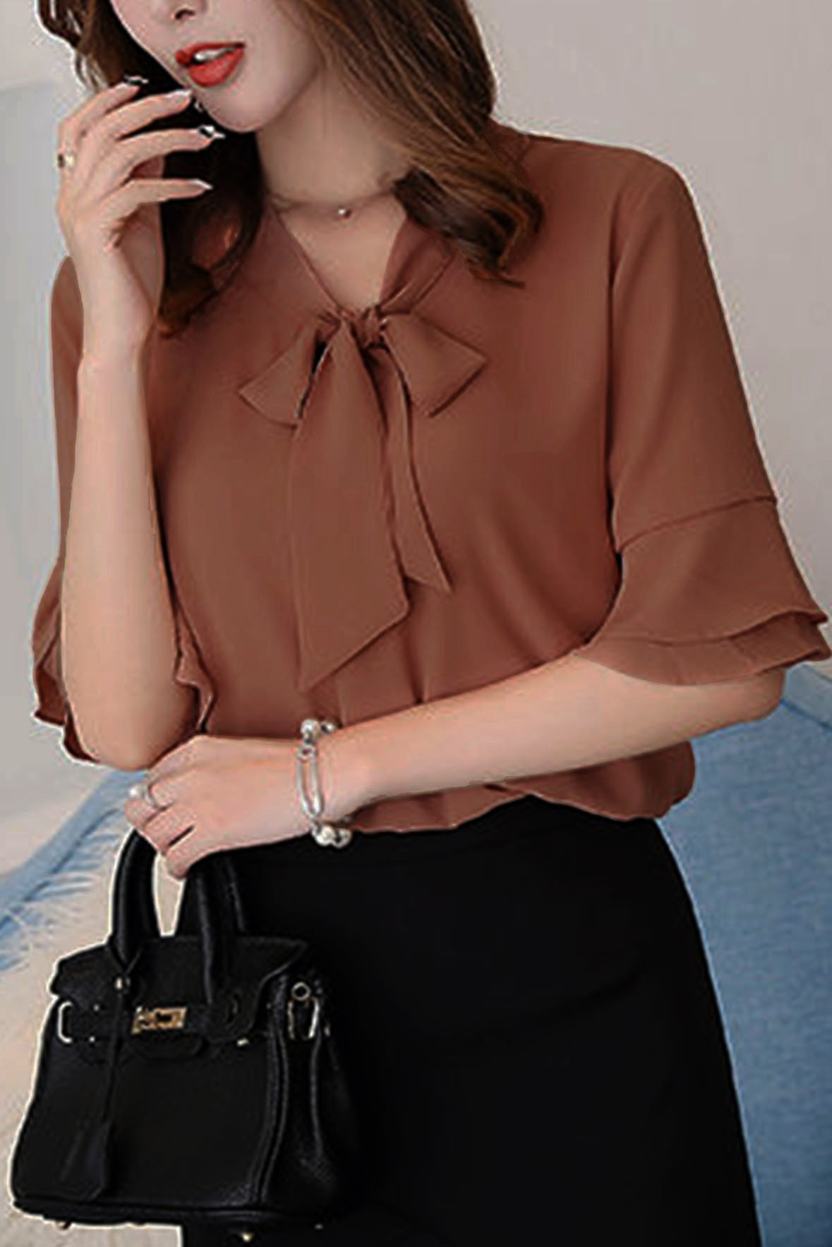 Elbow-Sleeve Bow Neck Top Brown