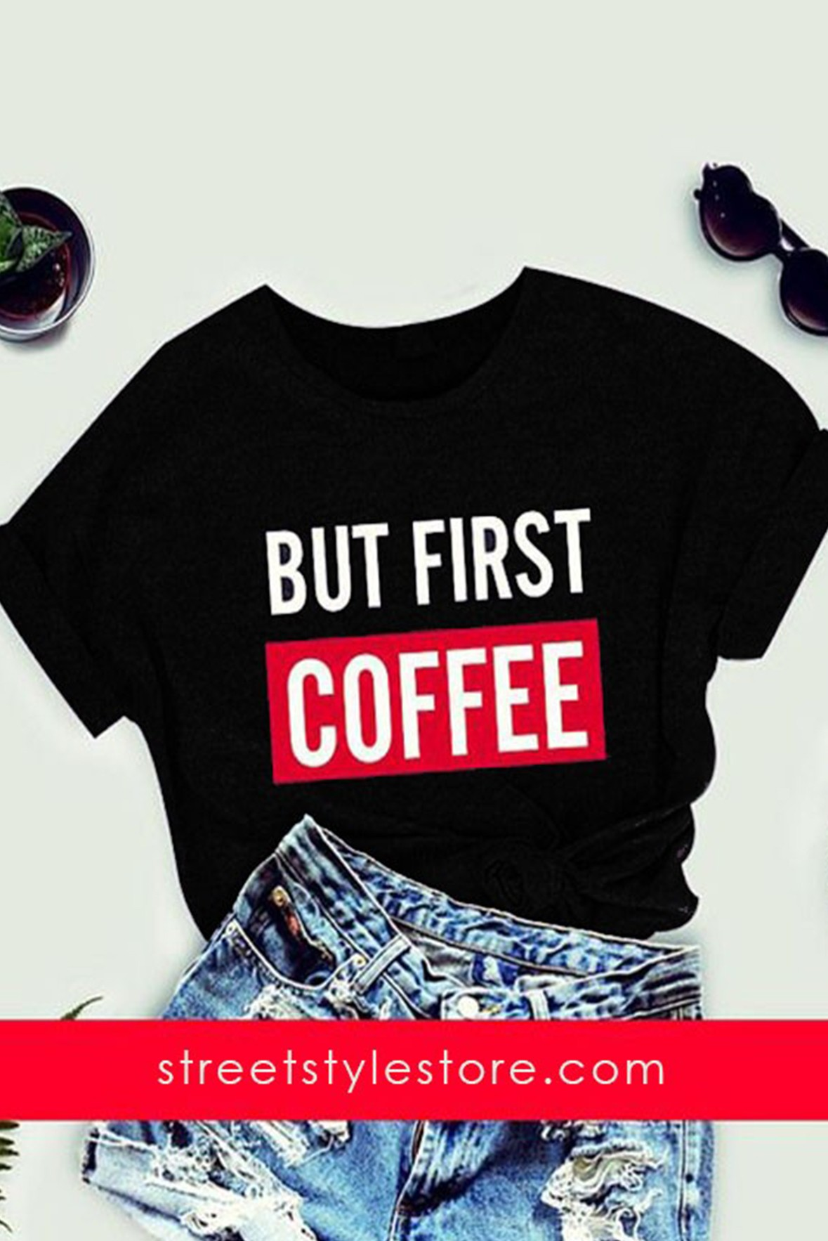 But first coffee Black T-shirt