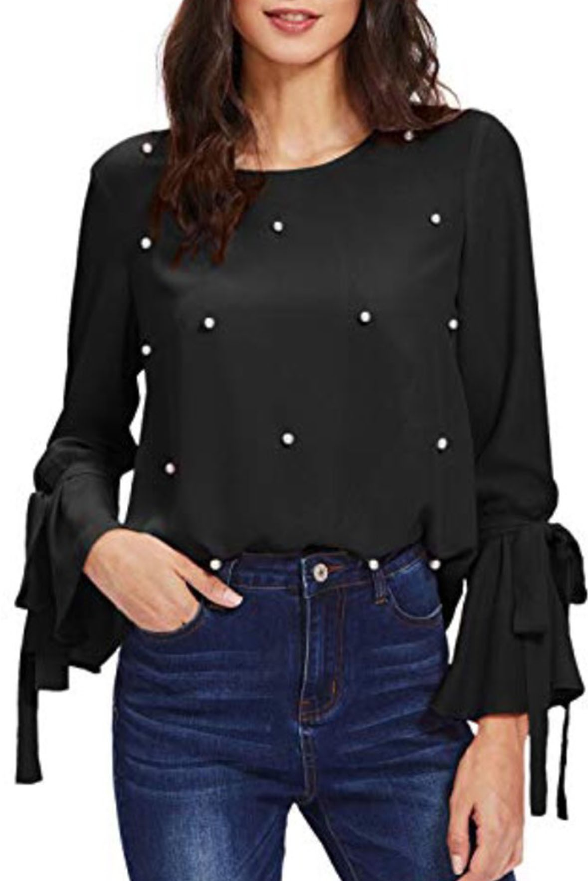 Flare sleeves top Black