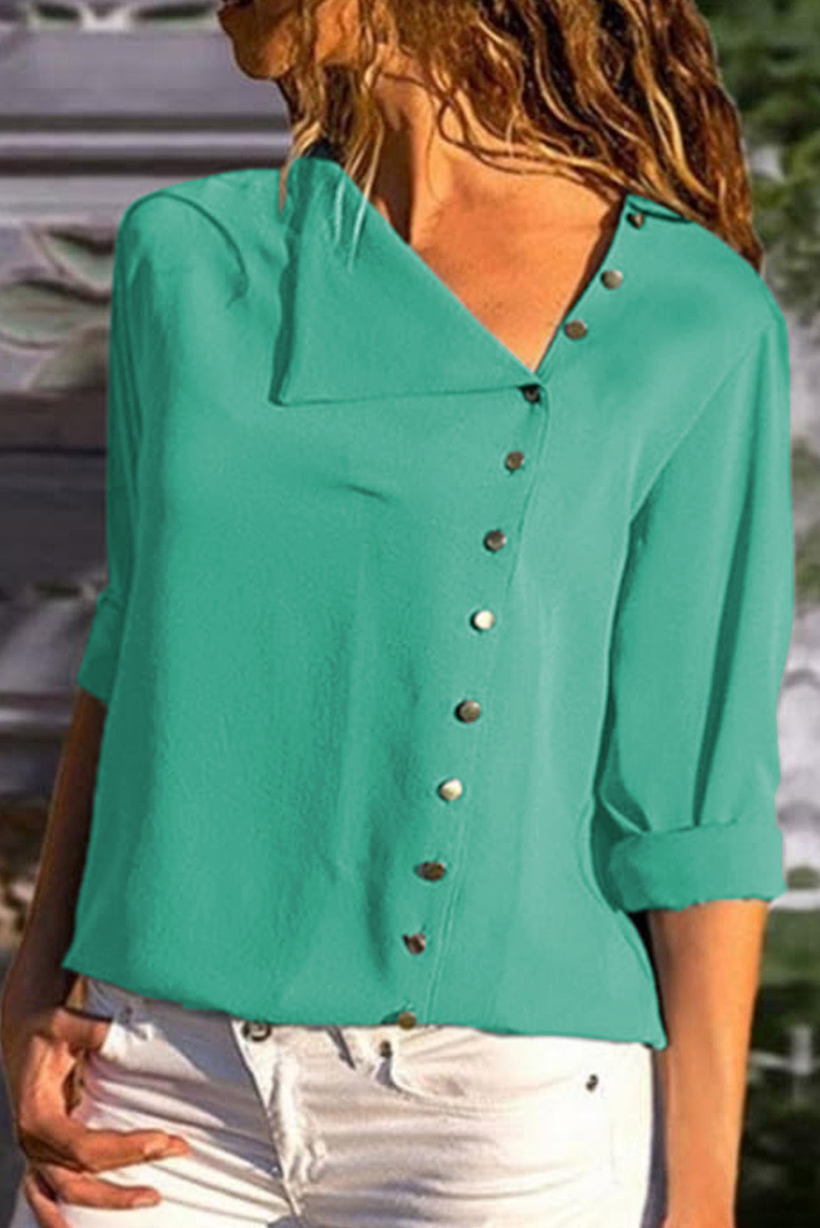 Side button long sleeve grey top green