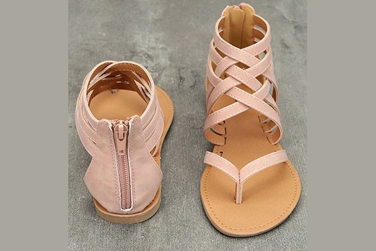 Back Zip Criss cross flats