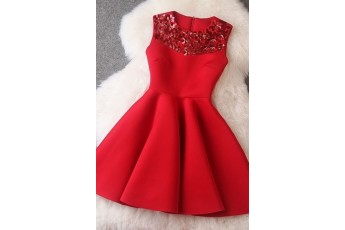 Red Sequin Embroidered Dress Red