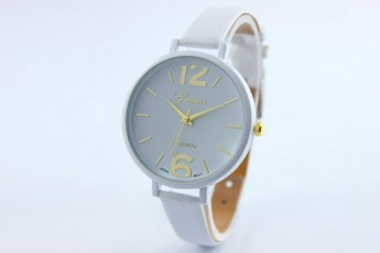 Women Faux Leather Analog White Watch