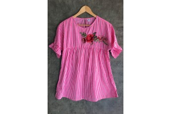 Rose Patch Pink Stripes Top
