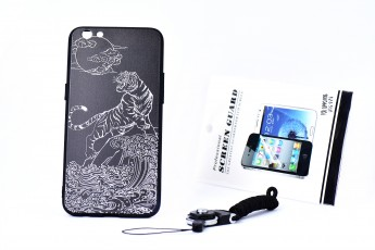Oppo R9S Phone Tiger Printed Case and Phone String and Tempered Glass