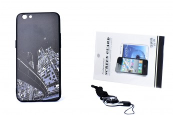 Oppo R9S Phone City Printed Case and Phone String and Tempered Glass