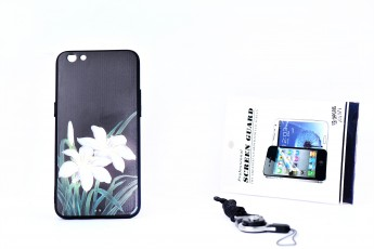 Oppo R9S Phone Floral Printed Case and Phone String and Tempered Glass