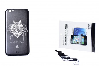 Oppo R9S Phone Wolf Printed Case and Phone String and Tempered Glass