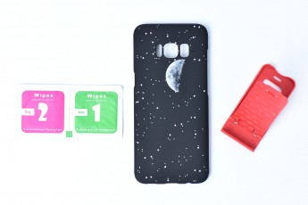 Galaxy Samsung S8 Moon Case with tempered glass and stand
