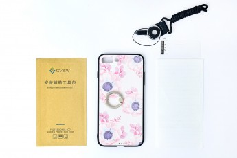 Iphone 7 Plus Floral case with tempered glass and screen protector and Phone string