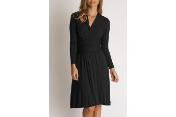 Long Sleeve Wrap Dress in Black