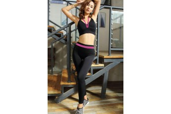 Set : Sexy slingback hot pink sports bra with stretchable leggings