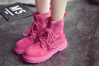 Lace Up Short Pink Boots