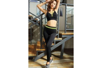 Set : Sexy slingback green sports bra with stretchable leggings