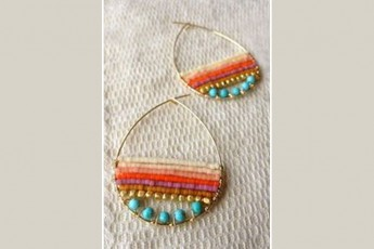Sweet colors beaded earrings