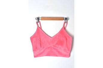 Sleeveless velvet crop top