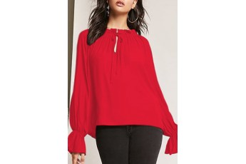 Ruffle Bell-Sleeve Top Red