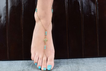 Turquoise leafy anklet