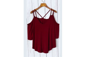 Marsala Strappy Cold Shoulder T-shirt